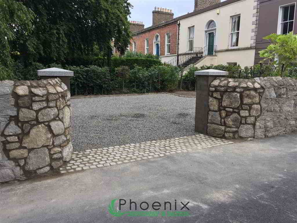 Gravel Driveway Installed With Cobblestones