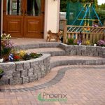 Triple step built using block kerbs and retaining wall