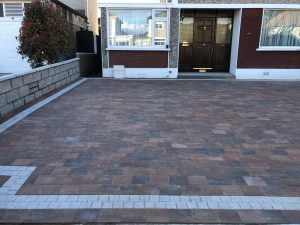 Block Paving Driveway with Raised Flower Bed in Dublin