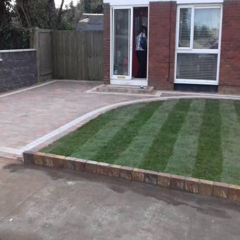 Block Paving Driveway with a Side Wall and Turf in Dublin